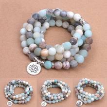 Bracelet en perles d'amazonite mattes givrées pour femmes, breloque de Yoga, Lotus OM bouddha, collier Mala, à la mode, 108