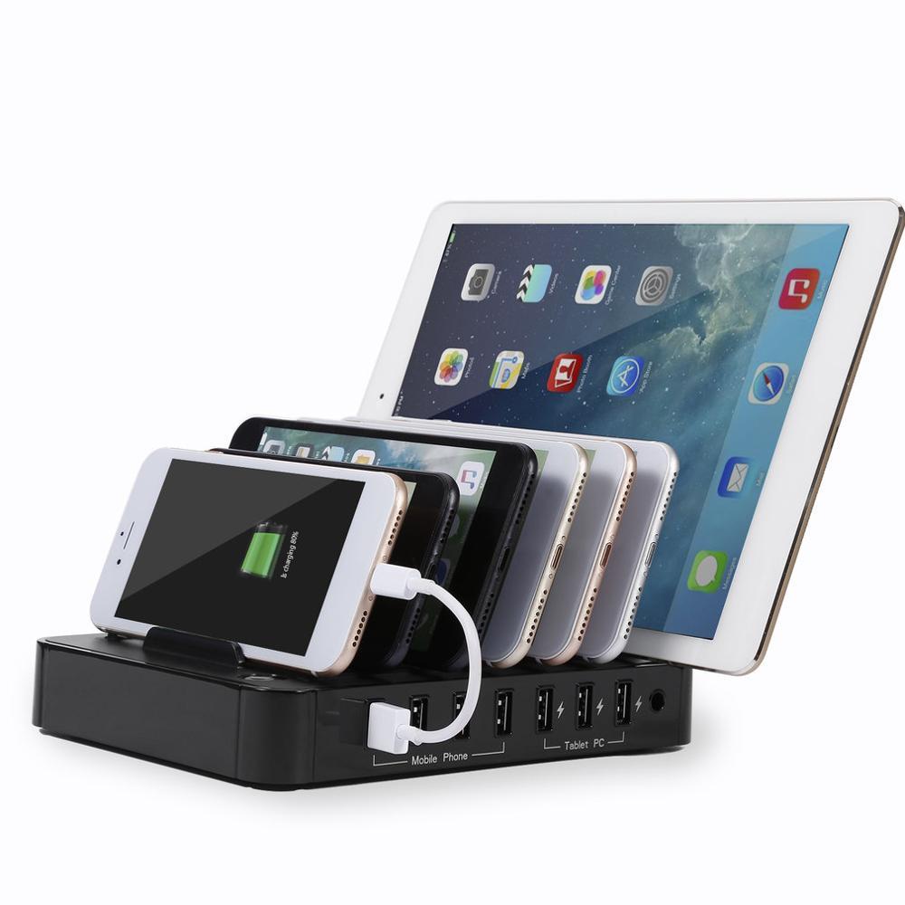Station de recharge universelle USB 7 ports chargeur rapide USB avec adaptateur secteur 60W pour tablettes Smartphones