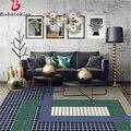 Bubble Kiss новый европейский стиль синий серый ковер прошитый решетчатый дизайн ковриков для современной гостиной модный Декор для спальни ков...