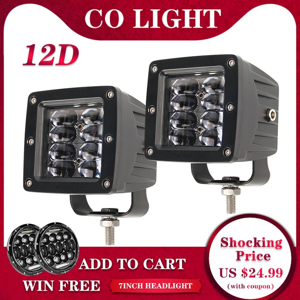 "CO LIGHT Super Bright 3"" LED Cubes 40W Flood LED Work Light Bar DRL Flush Mount Pods Offroad 4X4 for Boat SUV ATV Truck Fog Lamp"