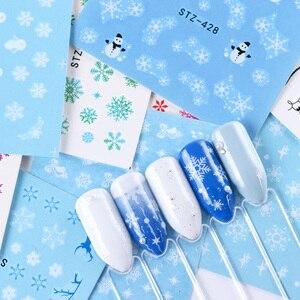 Image 5 - 30 個白雪ンネイルステッカーアートスライダークリスマス装飾爪デザイン箔水デカールマニキュア TR862