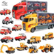 Big Truck 6PCS Mini Alloy Diecast Car Model 1:64 Scale Toys Vehicles Carrier Truck Engineering Car Toys for Children Boys Gift 1 50 high simulation alloy crawler crane truck toy car mini diecast engineering crane car model for children enduction toys gift
