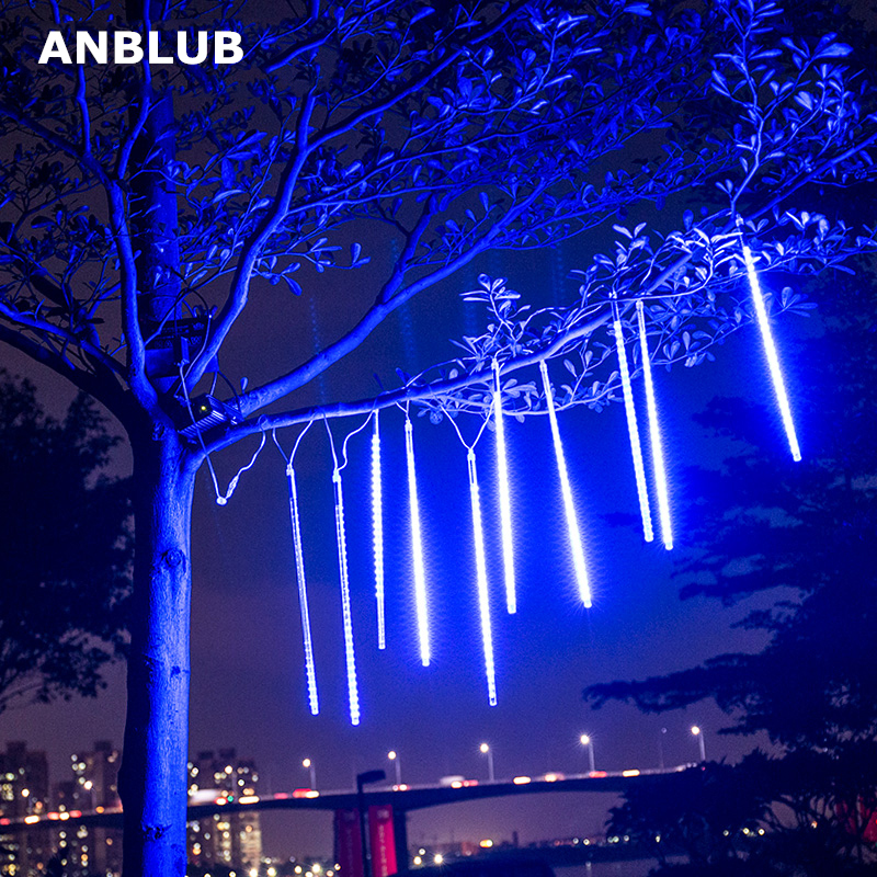 ANBLUB New Year 30cm 50cm Meteor Shower Rain 8 Tubes LED String Lights Waterproof Outdoor Christmas Decor Tree With Plug Tail