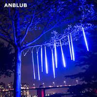 ANBLUB nouvel an 30cm 50cm pluie de météores 8 Tubes LED guirlandes lumineuses étanche en plein air décor de noël arbre avec prise queue