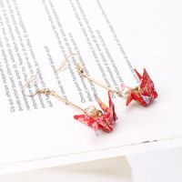 Handmade Red Paper Crane Pearl Drop Dangle Earrings For Women Fashion Jewelry CORD