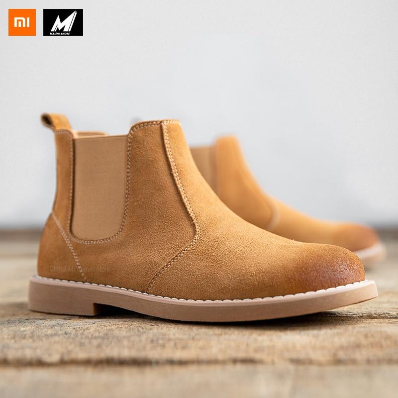 Xiaomi Mijia Maishi cuir Chelsea bottes mode confortable chaussures pour hommes angleterre doux léger daim tissu rétro tête ronde