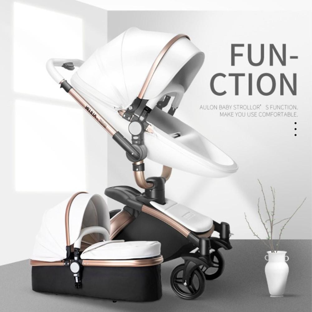 Aulon Baby Stroller 3 In 1 High-view Foldable Shockproof For Lying And Seating Baby Stroller Baby Basket