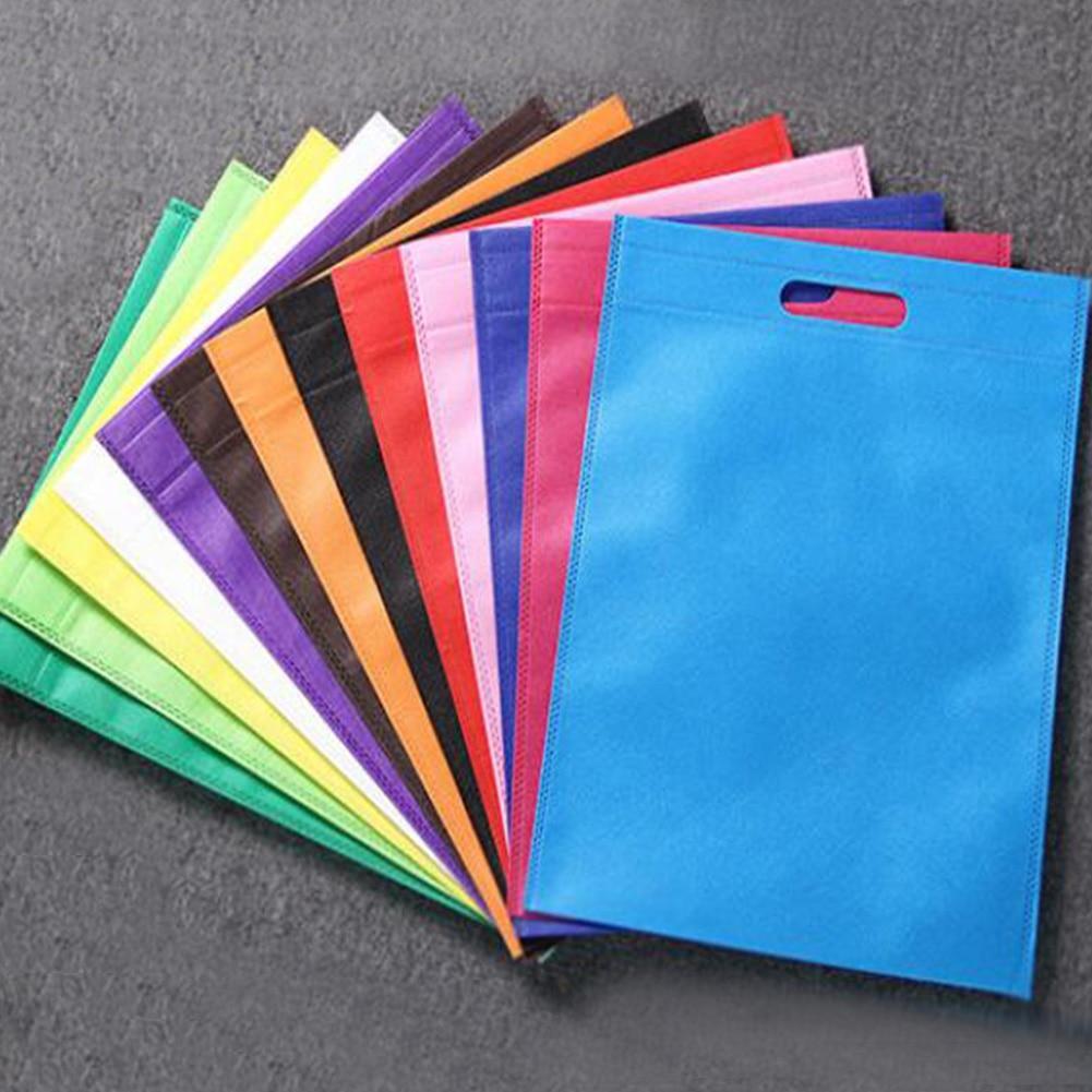 Environmental Storage Bag Handbag Foldable Shopping Bags Reusable Folding Grocery Nylon Tote Bag Solid Color Non-Woven Fabric