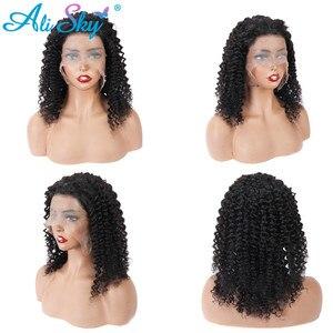 Image 5 - Siyah kadınlar için kısa kıvırcık peruk 13*6 Kinky kıvırcık dantel ön peruk brezilyalı Remy saç ön koparıp kısa kıvırcık Bob HD dantel peruk 180%