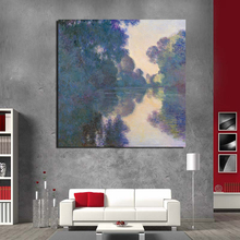 Claude Monet Morning On The Seine Canvas Painting Posters Prints Marble Wall Art Painting Decorative Pictures Modern Home Decor morning on the seine by monet canvas painting