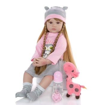"Big Reborn baby dolls handmade 24""  silicone vinyl limbs bebe reborn toddler girl doll realistic bonecas lol gift toys"