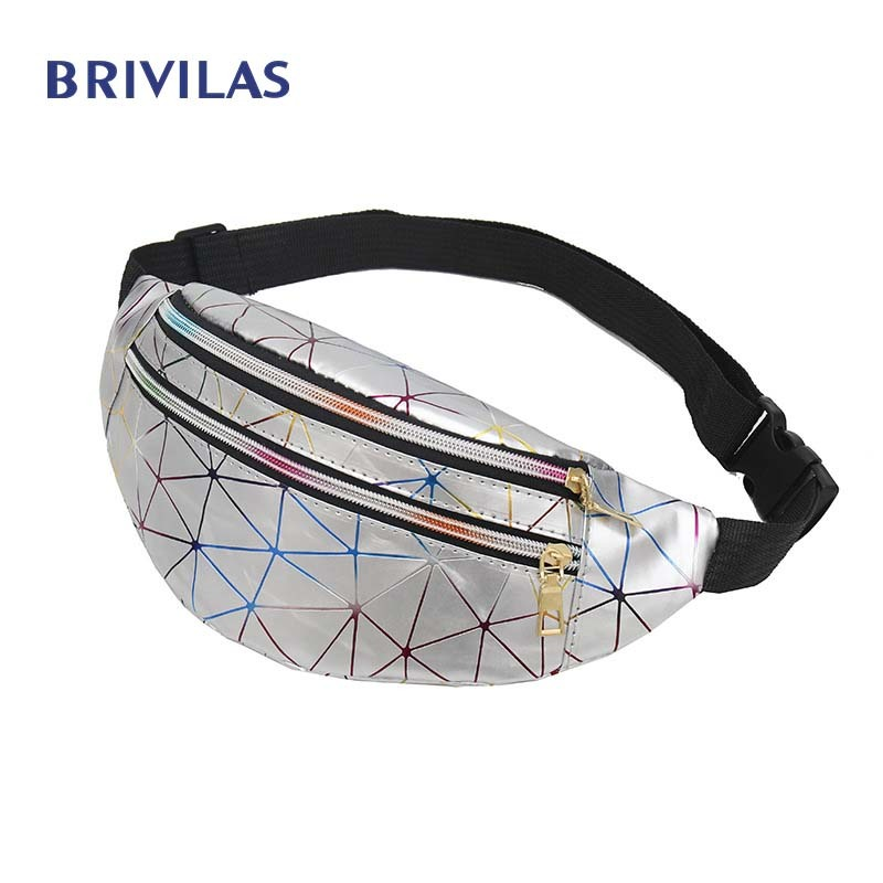 Brivilas Holographic Waist Bags Women Pink Silver Fanny Pack Female Belt Bag Black Geometric Waist Packs Laser Chest Phone Pouch