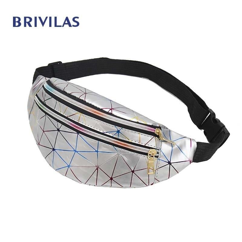 Brivilas Holographic Waist Bags Women Pink Silver Fanny Pack Female Belt Bag Black Geometric Waist Packs Laser Chest Phone Pouch