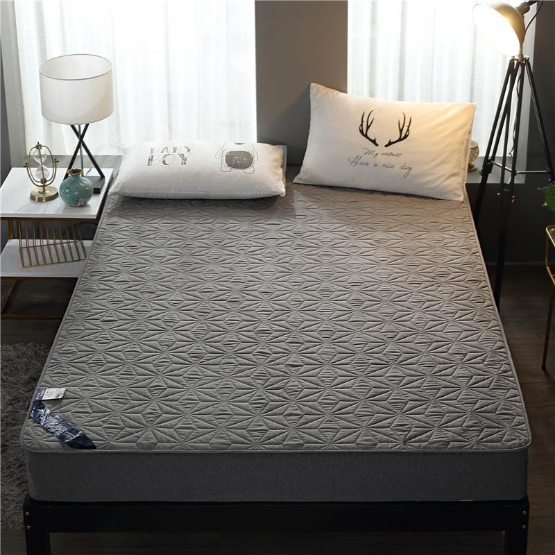 Quilted Waterproof Mattress Protector Solid Color Bed Sheet with Band Mattress Pad & Topper Bed Cover for Double Twin Queen King image