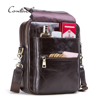 """CONTACT'S New Genuine Leather Messenger Bag For Men Casual Shoulder Bags Male Flap Bag Luxury Brand Crossbody Bags For 9.7"""" Ipad"""
