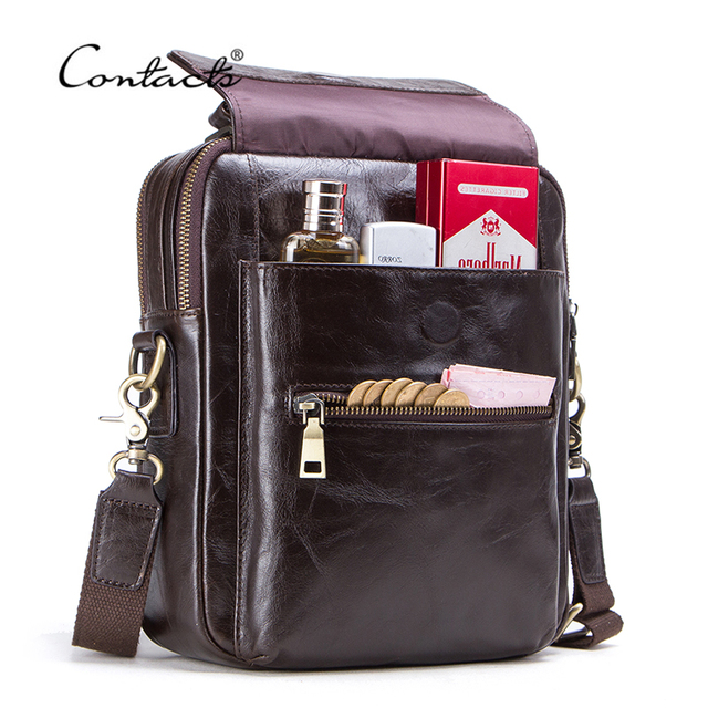 """CONTACTS new genuine leather messenger bag for men casual shoulder bags male flap bag luxury brand crossbody bags for 9.7"""" Ipad"""