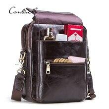 """CONTACTS nowa torba z prawdziwej skóry dla mężczyzn dorywczo torby na ramię męska torba klapowa luksusowe marki crossbody torby na 9.7 """"Ipad"""