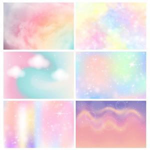 Image 1 - Красочные фоны для фотосъемки с облаком, небо, виниловая ткань, вечерние фоны для фотостудии, детский душ