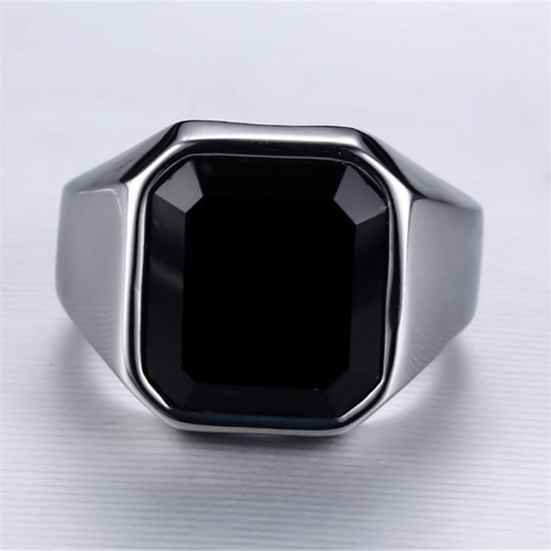 Black Square Resin Ring Men Jewelry Silvery Finger Ring Ladies Vintage Fashion Rings For Women Couple Lover Wedding Rings Femme