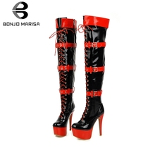BONJOMARISA New 33-48 Platform Thigh High Boots Women 2019 Winter Fashion Over The Knee Heels Shoes Woman
