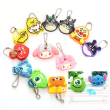 CHXINHNS 2pcs/set Cartoon Key Cover Cute Anime Totoro Silicone KeyChains Women Funny Animal Key Holder Caps Key Chain Child Gift(China)