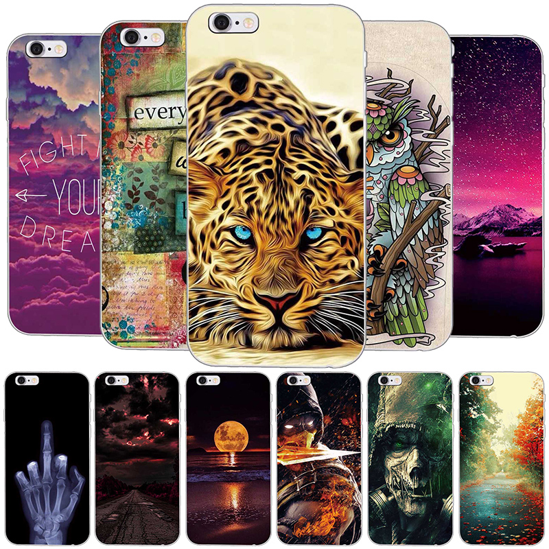 Για iPhone 5 Cover Soft Silicone Gel Cover Fundas για iPhone 5S SE Cartoon Phone Θήκες Προστατευτική θήκη για iPhone 6 plus 7 8plus
