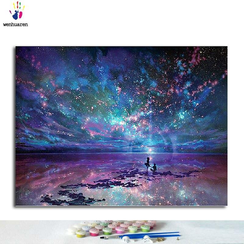 Купить diy цифровая картина маслом цвет пола по номеру звездного неба