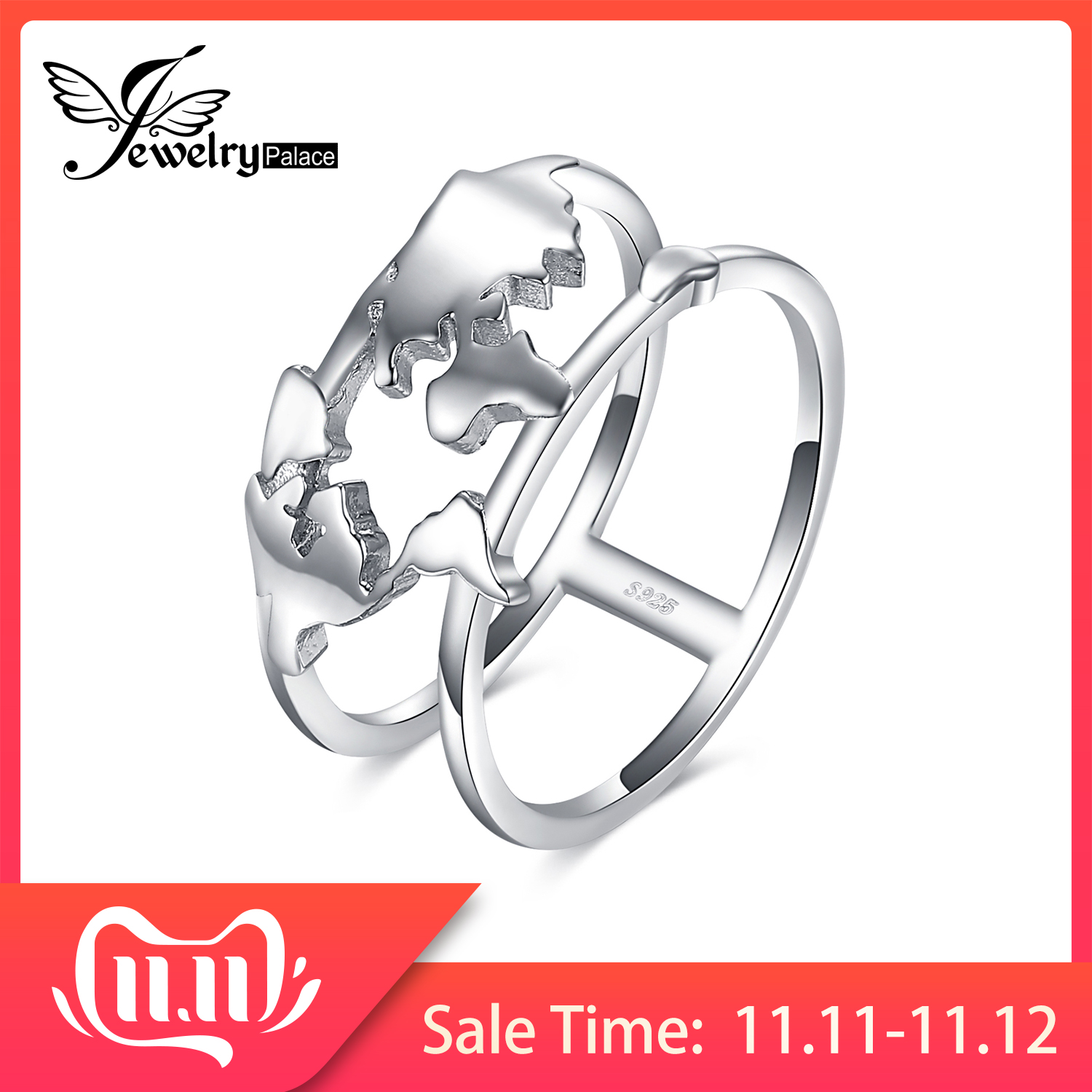 JewelryPalace World Map Rings 925 Sterling Silver Rings For Women Statement Stackable Ring Band Silver 925 Jewelry Fine Jewelry