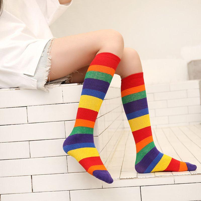 Children Rainbow Sport Socks Kids Boys Girls Colorful Striped Knee Mid High Tube Stockings
