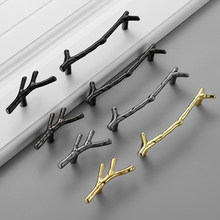 Fashion Tree Branch Furniture Handle 96mm 128mm Black Silver Bronze Kitchen Cabinet Handles Drawer Knobs Door Pulls Hardware