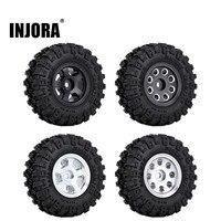 """INJORA 4PCS CNC 1.0"""" Beadlock Wheel Rim & Tire Set for 1/24 RC Crawler Car Axial SCX24 90081 AXI00001 Deadbolt 1"""