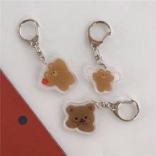 Корейское ins мультяшное милое Медвежонок акриловое кольцо для