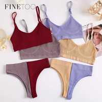 FINETOO-Conjunto de Top y bragas de algodón sin costuras para mujer, ropa interior de cintura baja, suave, activa, lencería, Top corto de Fitness