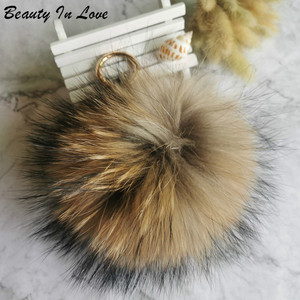 Big 15cm Fluffy Real Fox Fur Ball Pom Poms Natural Fur Pompom Leather Strap Keychain Key Chain Ring Pendant For Women Charm f278(China)