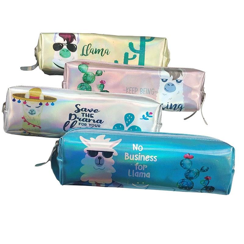 Kawai Sheep Pencil Bags Pouch Pen Case Cute Cactus Pencil Box Laser Pencil Case For Girls Boys Korean Stationery School Supplies