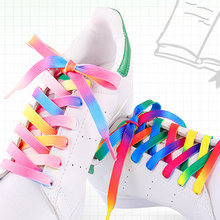 Regenboog Kleurrijke Platte Schoenveters Mode Gedrukt Gradiënt Schoenen Veters Accessoires Outdoor Sneakers Schoenveters Canvas Schoenveters(China)