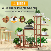 Shelves Flower-Rack Plant-Stand Bonsai-Display Wooden Balcony Patio Multi Garden 5-Tiers