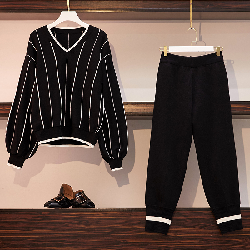 Fp8085 2019 New Autumn Winter Women Fashion Casual 2pieces Set Suit Big Plus Size Knitting Wool Thick Women Sweat Suit Set