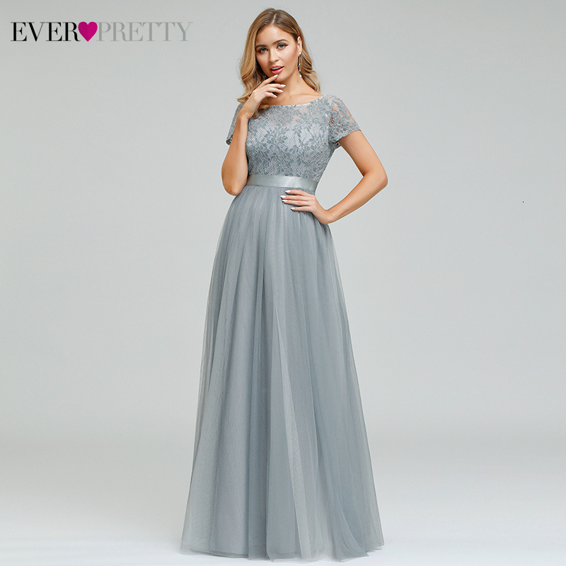 Grey Lace Evening Dresses Ever Pretty EP00874GY A-Line O-Neck Elegant Women Occasion Dresses Long Party Gowns Vestidos Largos