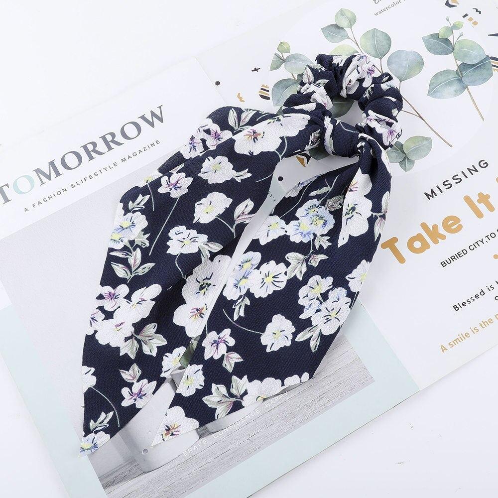 Levao fleur impression cheveux écharpe arc chouchous queue de cheval bandeau pour femmes cheveux accessoires nœud papillon élastique cheveux corde bandeaux 39
