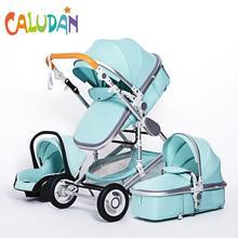 Роскошная многофункциональная детская коляска 3 в 1, портативная коляска с высоким ландшафтом, складная коляска, красная, Золотая детская ко...