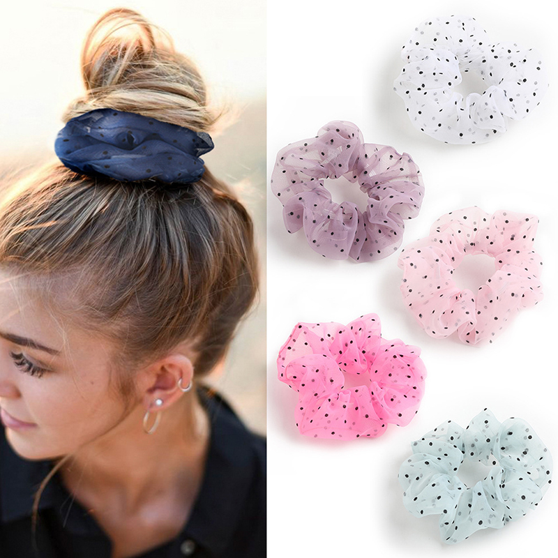 Organza Dot Hair Scrunchie Hair Ring Ties For Girls Ponytail Holders Hair Bands Elastic Hairband Hair Accessories Headwear