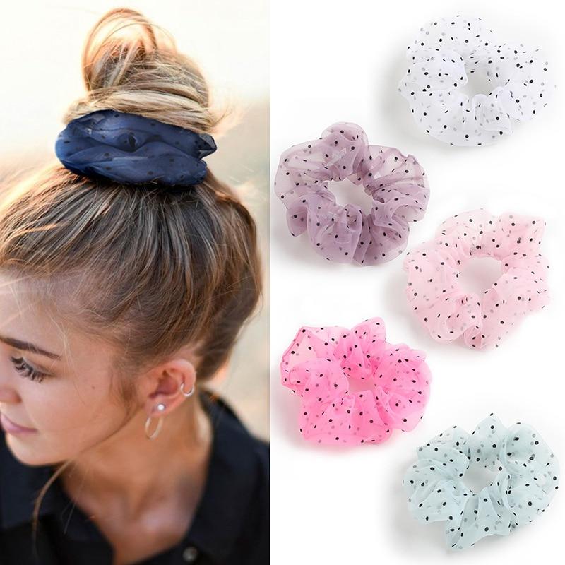 Organza Dot Hair Scrunchie Hair Ring Ties For Girls Ponytail Holders Hair Bands Elastic Hairband Hair Accessories Headwear