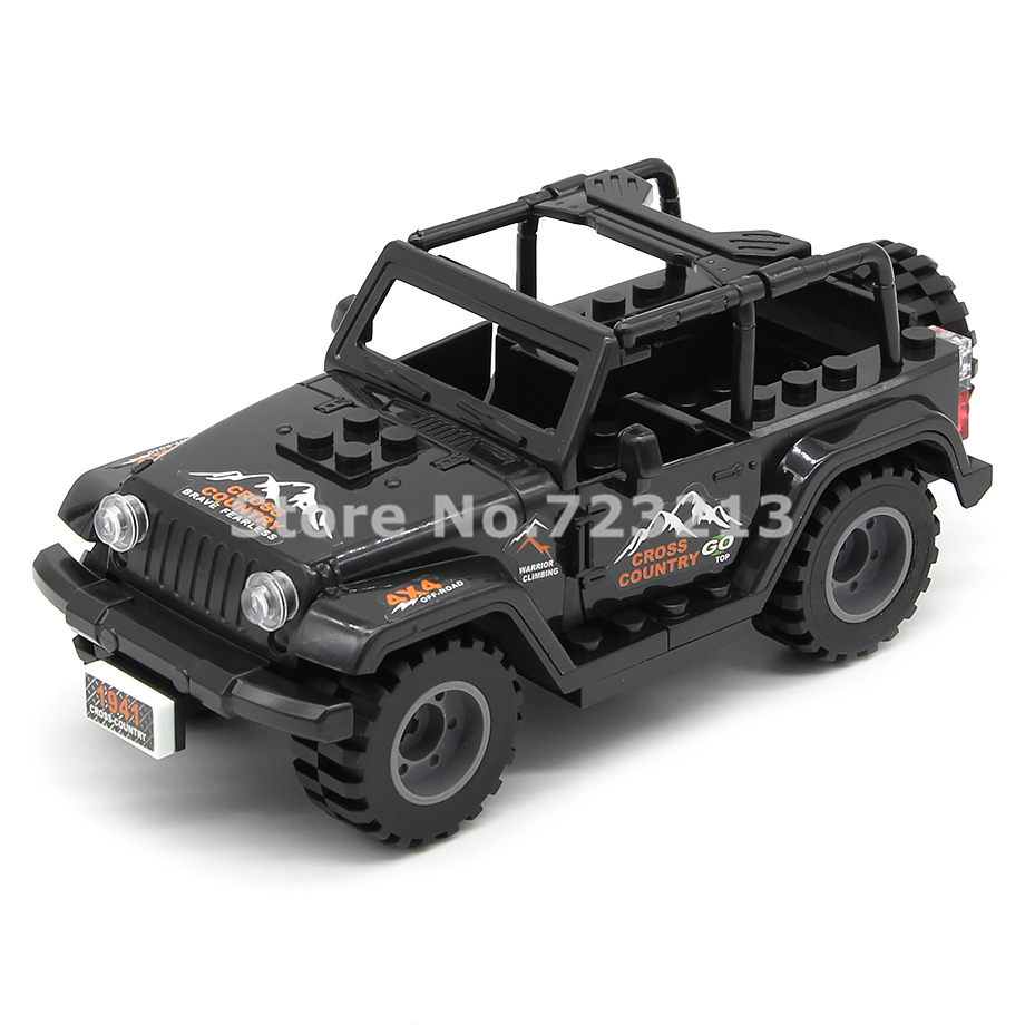 Single Black Car Jeep Accessories MOC SWAT City Military Truck Building Blocks Model Brick Educational Kit Toys Children