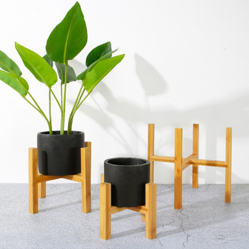 Bonsai-Holder Home-Flower-Stand Bamboo-Wood Balcony Modern-Shelf with Foot-Pad Smooth-Surface