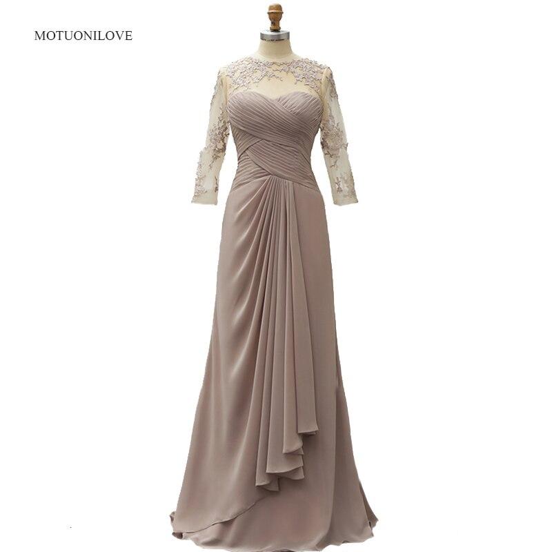 Pure col rond mère marié robes 2019 dentelle Appliques grande taille de mariage invité mère de la mariée robes 3/4 manches longues