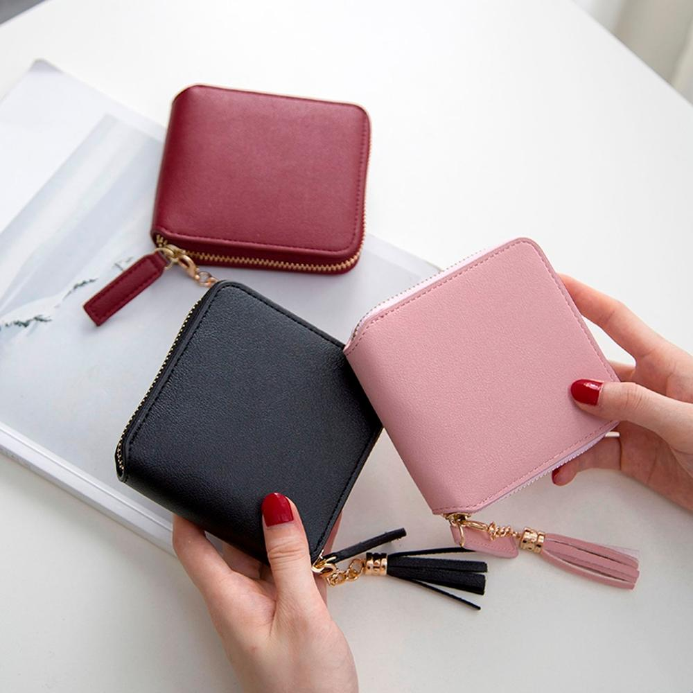 Solid Color Fold Leather Tassel Wallet For Women Mini Purse Fashion Leather Card Holder Coin Bag Ladies Leather Wallets #20