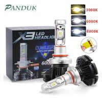 PANUDUK Auto Luce ZES H4 LED H7 H11 3000K 6000K 8000K HB3 9005 HB4 9006 Auto LED fari Lampadine 50W 6000LM Faro Auto X3