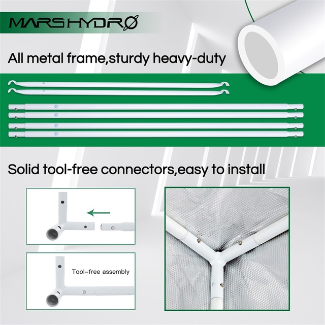 Mars Hydro 150X120X200cm 2-in-1 Grow Tent 1680D Water-Proof Non-Toxic Reflective Material for Indoor Growing System Plant Room 4