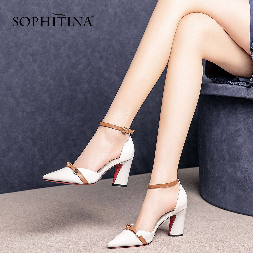 SOPHITINA Elegant Fashion Women Sandals High Quality Cow Leather Butterfly-Knot Decoration Shoes Ankle Buckle Strap Sandal SO454